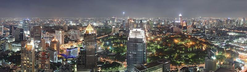Bangkok at night, as seen from the top of the Banyan Tree Hotel.
