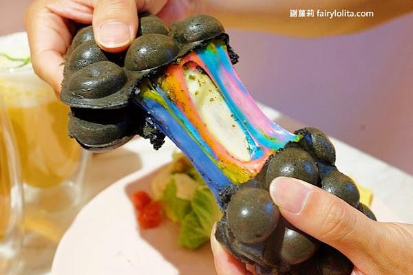桃園咖啡廳   2Yum Cafe'。彩虹瀑布浮誇狂瀉,史上最狂港式雞蛋仔就是它!