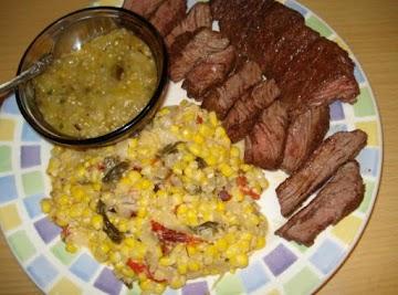 Skirt Steak & Creamed Corn & Poblanos (churasco Con Maiz Y Poblanos) Recipe