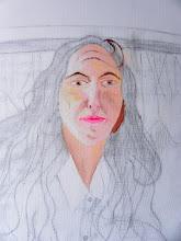 Photo: visage peint, dessin préparatoire fait sur la toile à peindre (détail)