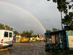 Photo: As we got back to our hosts' neighborhood we were greeted with this bright, brilliant double rainbow.