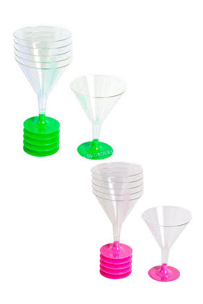 Cocktailglas, färgad fot