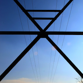 View from a pylon by Morgan Bardon - Buildings & Architecture Other Exteriors ( pylon, wires, blue sky, outdoor photography, electrical )