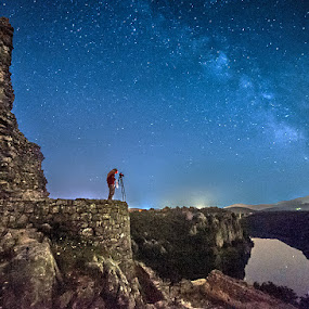 In the night by Zeljko Marcina - Landscapes Starscapes ( old, ruin, stars, night, milky way, river, photographer, taking photos, pwc75, , photographers, taking a photo, photographing, photographers taking a photo, snapping a shot )