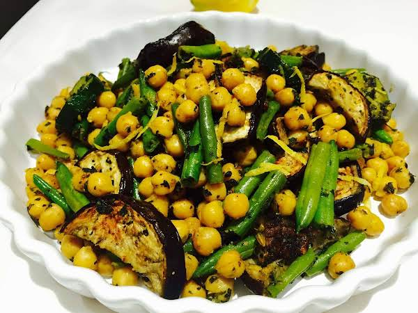 A Vegan, Fresh Yummy Power Salad Made From Chickpeas, Dry Nettles, Aubergines, And A Nice And Refreshing Drizzle Of Lemon Juice.