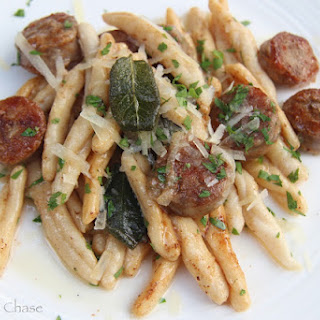 Handmade Cavatelli with Sausage & Browned Sage Butter.