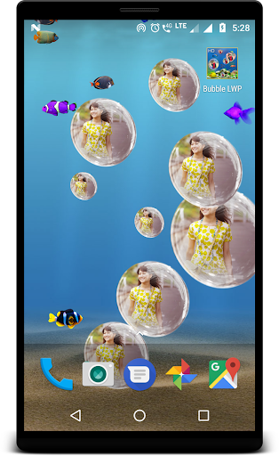 Bubble photo live wallpaper with aquarium ss3