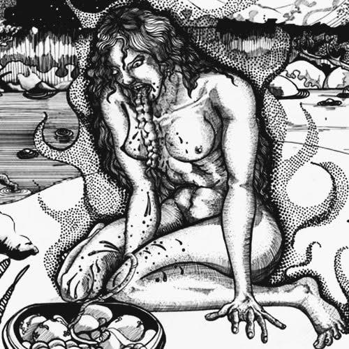 Mujer vomitando sus vísceras en un cuenco de madera