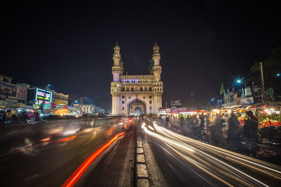 Charminar by Bhargava Chiluveru - City,  Street & Park  Historic Districts ( night photography, night scene, hyderabad, light trails, india, long exposure, architecture, mughal, charminar )