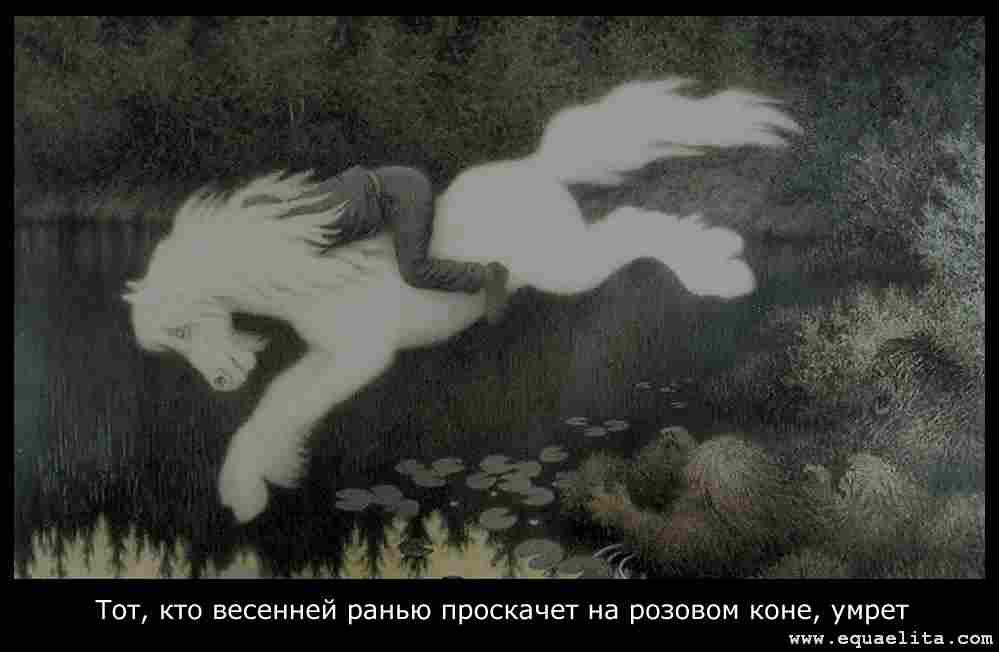 Человек на белой кобыле