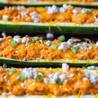 Buffalo Turkey Stuffed Zucchini Boats.