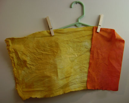 mustard yellow, overdyed pink