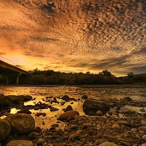 Lead On by Deb Bulger - Landscapes Sunsets & Sunrises ( clouds, orange, dramatic, bridge, waterscapes, landscapes, rocks, skies, river,  )