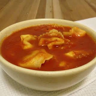 Tomato Soup with Giovanni Rana Prosciutto Tortelloni.
