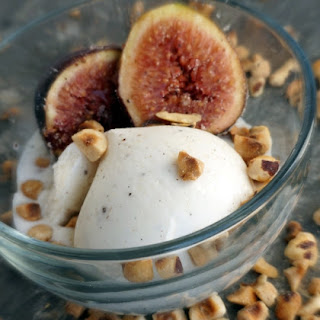 Spice Roasted Figs with Hazelnuts and Vanilla Ice Cream