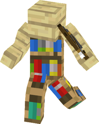 A skin meant to be used in the Murder Mystery game on Hypixel. This strategy is commonly known as the I Am Stone Challenge, as the player can blend into its surroundings perfectly. The player may choose to be a bookshelf, or a birch wood plank, depending on if they have their