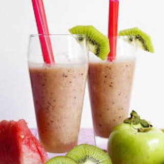 Watermelon, Kiwi, Apple and Frozen Banana Smoothie.