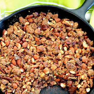 Crunchy Pecan, Pear and Chocolate Crumble.