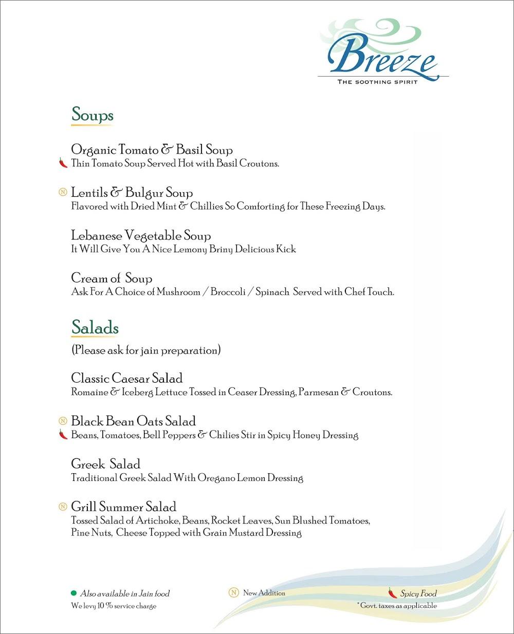 Breeze Lounge menu 11