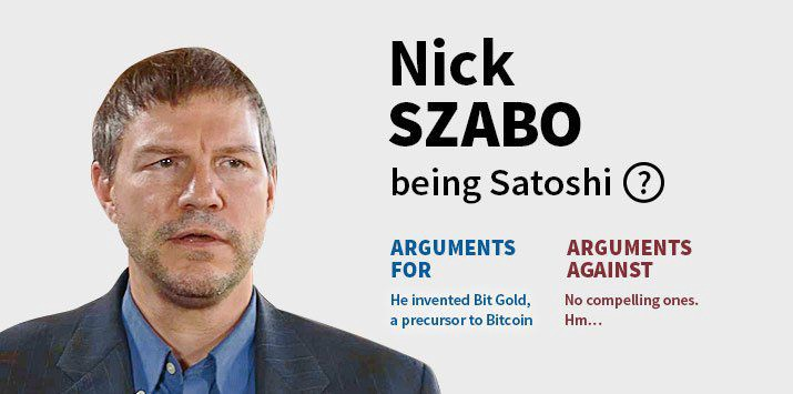 affiche comparant Nick Szabo à Satoshi Nakamoto