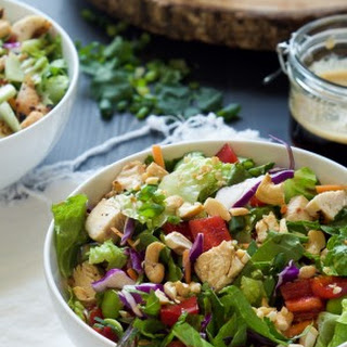 Crispy Thai Cashew Chicken Salad with Soy Ginger Dressing.