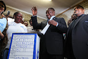 President Cyril Ramaphosa casts his vote in Chiawelo, Soweto, on May 8 2019.