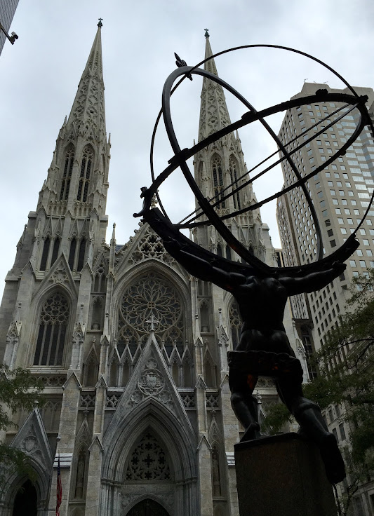 Atlas looks at St. Patrick's Cathedral.
