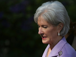 Photo: WASHINGTON, DC - OCTOBER 21: Health and Human Services Secretary Kathleen Sebelius arrives to listen to U.S. President Barack Obama speak about the error-plagued launch of the Affordable Care Act's online enrollment website in the Rose Garden of the White House October 21, 2013 in Washington, DC. According to the White House, the president was joined by 'consumers, small business owners, and pharmacists who have either benefitted from the health care law already or are helping consumers learn about what the law means for them and how they can get covered. 'Despite the new health care law's website problems, Obama urged Americans not to be deterred from registering for Obamacare because of the technological problems that have plagued its rollout.  (Photo by Mark Wilson/Getty Images)