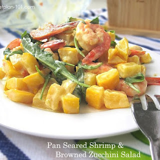 Pan Seared Shrimp & Browned Zucchini Salad (for Dukan Diet PV Cruise)