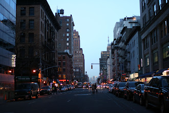 Photo: Looking up West Broadway down in Lower Manhattan after sunset.