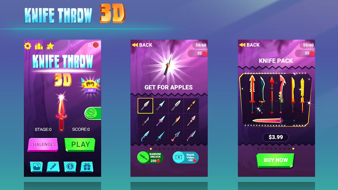 Knife Throw 3D Android App Screenshot