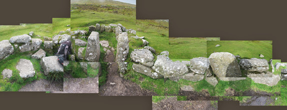 Photo: Grimspound is a late Bronze Age settlement (consists of 24 hut circles) and is over 3,000 years old. This composite is of the largest hut circle that has been reconstructed