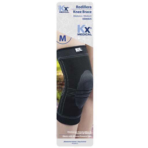 rodillera elastica almohadillas silicon kx sin latex talla m