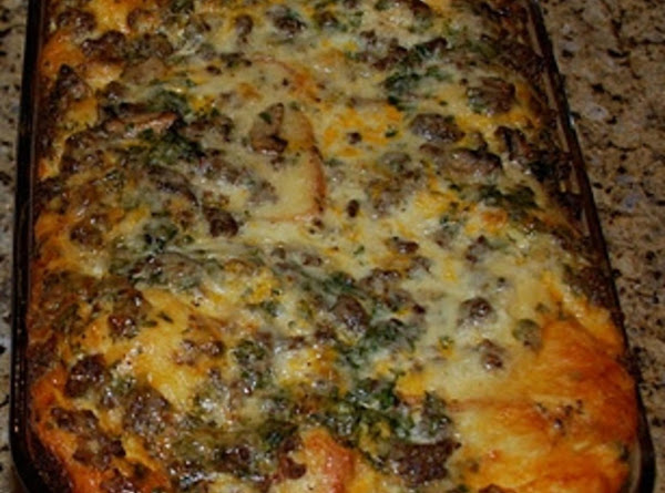 Breakfast Strata With Sausage And Monterey Jack Recipe