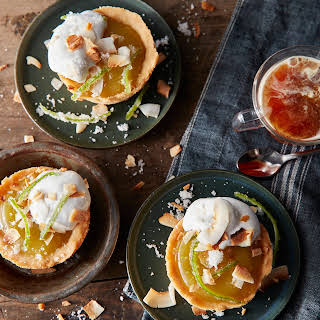 Lime Curd Mini Pies With Toasted Marshmallow-Coconut Cream.