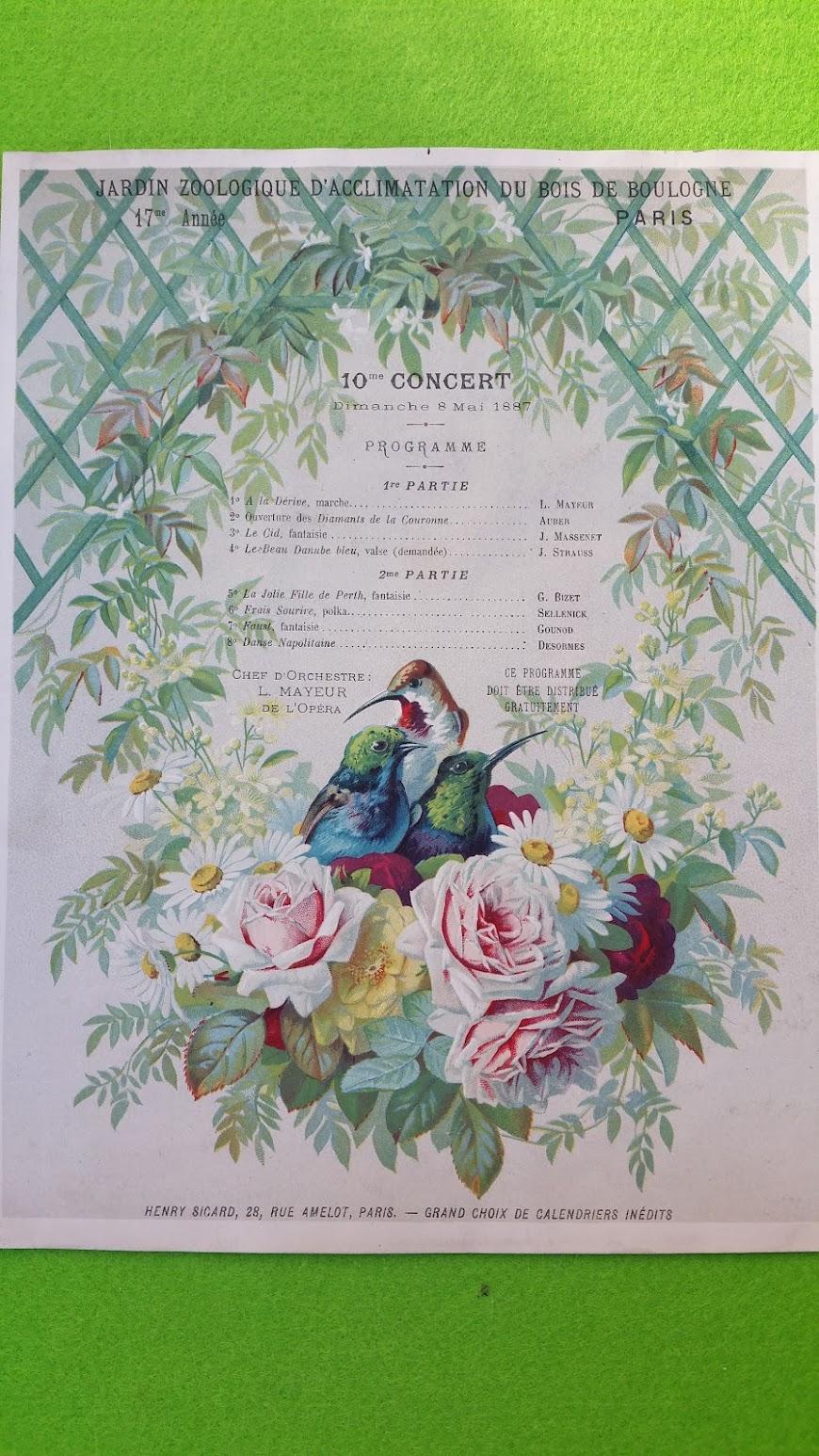 Programmblatt - Jardin Zoologique d'Acclimatation du Bois de Boulogne  - Paris 8. Mai 1887