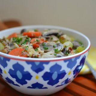 Creamy Mushroom, Rice and Quinoa Soup