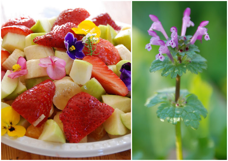 fruit salad decorated with flowers
