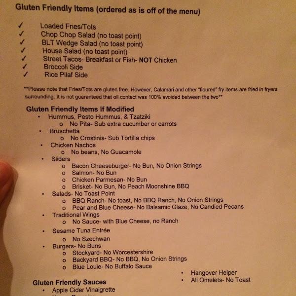 Gf menu at Bar Louie