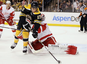 Milan Lucic trying to get by goalie Jimmy Howard