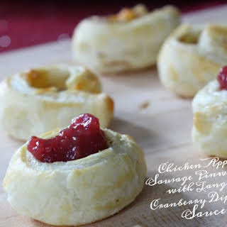 Chicken Apple Sausage Pinwheels with Tangy Cranberry Dipping Sauce.