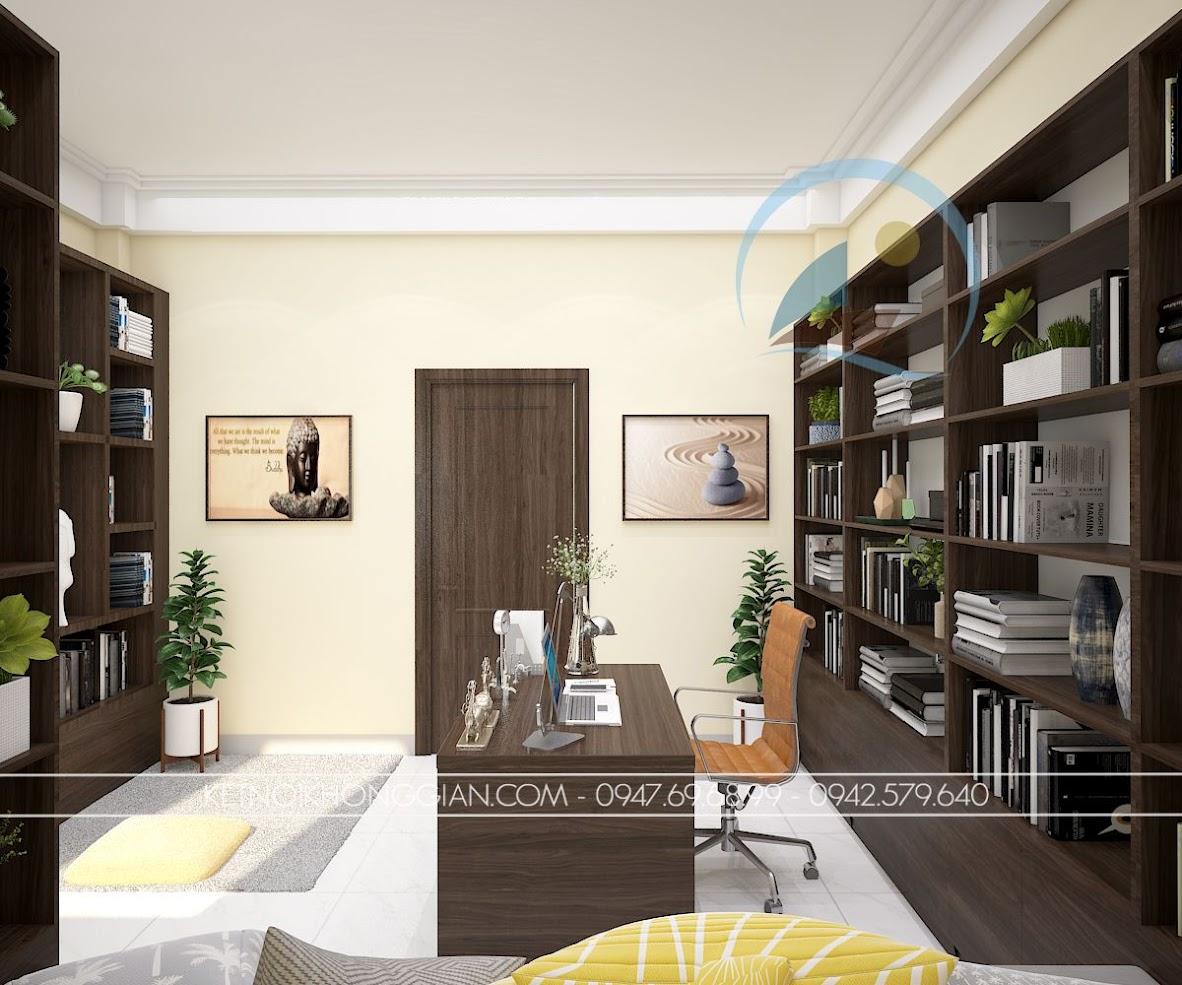 thiết kế phòng làm việc kết hợp phòng đọc sách và thiền 2