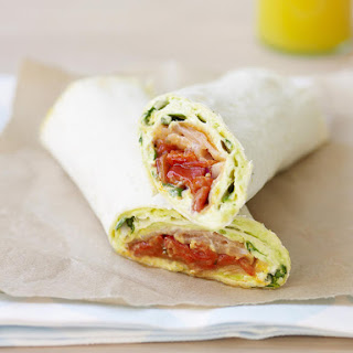 Avocado, Salmon and Roasted Red Pepper Wraps.