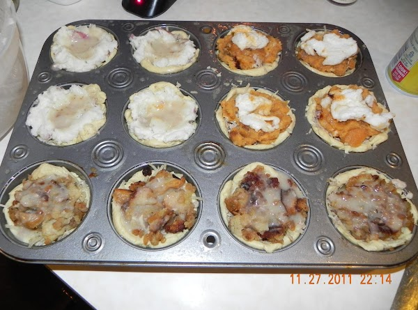 Now, flatten out your bisquit dough and form biscuits to the muffin tin. 1...
