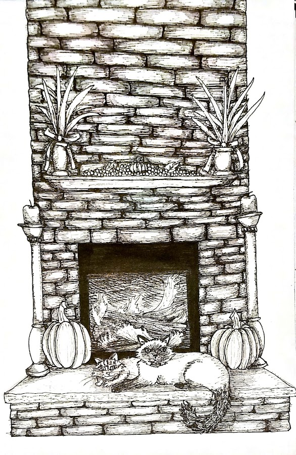 Cozy by the Fire by Melissa Toothman - Drawing All Drawing ( heat, warm, cats, fall, cozy, felines, fire, homely, kittens, fireplace, pumpkin, home )