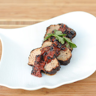 Coffee-Rubbed Pork Tenderloin with Blueberry Sauce