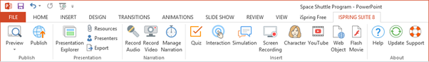 iSpring Suite on the PowerPoint ribbon