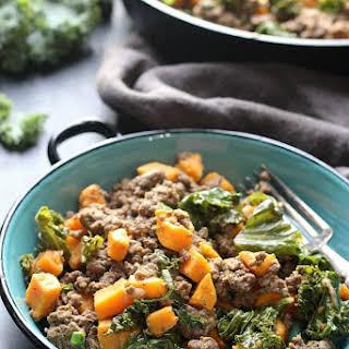 Ground Beef, Kale & Sweet Potato Skillet.