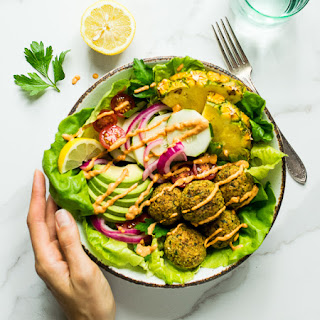 Falafel Bowls with Roasted Red Pepper Tahini Sauce