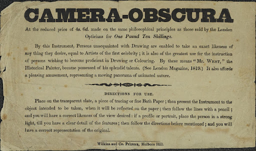Advertisement for the Camera Obscura c.1819
